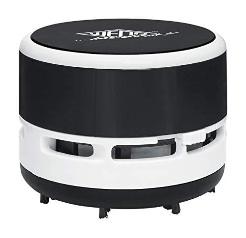 Wedo 20520101 Mini Tischstaubsauger, bürsten, Abschraubbarer Auffangbehälter Höhe circa 6, 3 cm, Durchmesser 8, 5 cm, inkl. Batterien, Schwarz/ Weiß