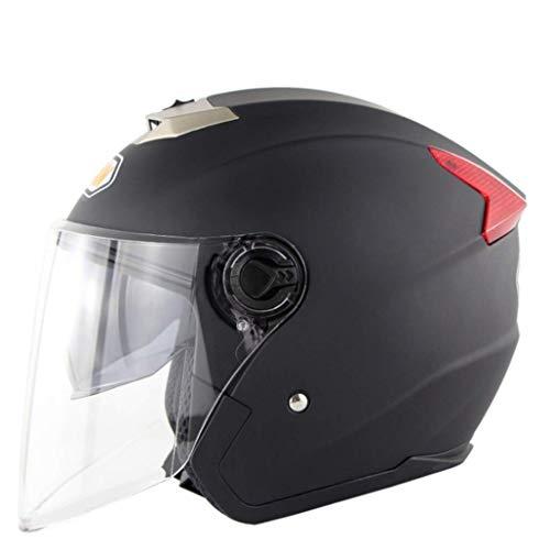 Sxmy Motocicletas, vehículos eléctricos, cascos de doble espejo, cascos de personalidad, masculino y femenino, cascos de verano, cascos anti-UV, color negro mate - XL