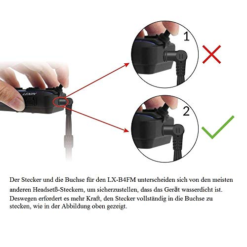LEXIN B4FM Motorradhelm Intercom, Bluetooth Motorrad Headset Windgeräuschreduzierung, Bluetooth-Kommunikationssystem für Motorräder - 4