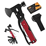 Camping Accessories Multitool, Survival Gear 14 in 1 Hatchet with Knife Hammer Axe Saw Screwdrivers Pliers for Fishing Hunting Hiking, Gifts for Men Husband Boyfriend Dad Birthday Christmas(Red)