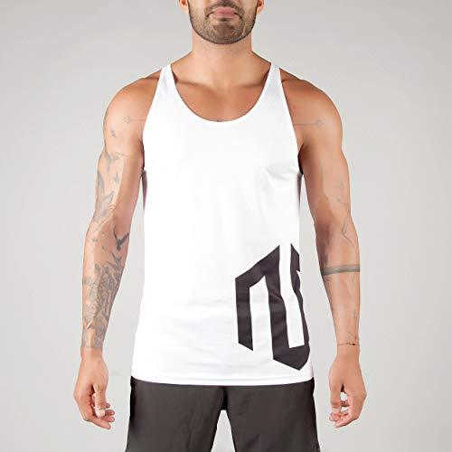 MOROTAI Brand Tank Top Herren - Atmungsaktives Fitness Top - Sporttop Fitness Muskelshirt Für Gym und Bodybuilder - Weiß - M
