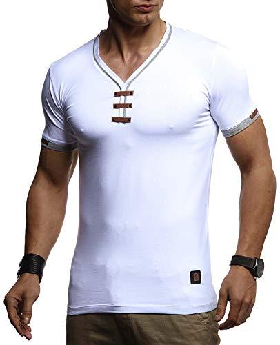 Leif Nelson Herren Sommer T-Shirt V-Ausschnitt Slim Fit Baumwolle-Anteil Basic Männer T-Shirt V-Neck Hoodie-Sweatshirt Kurzarm lang Weißes Jungen Shirt Kurzarmshirts LN4890 Weiß Medium