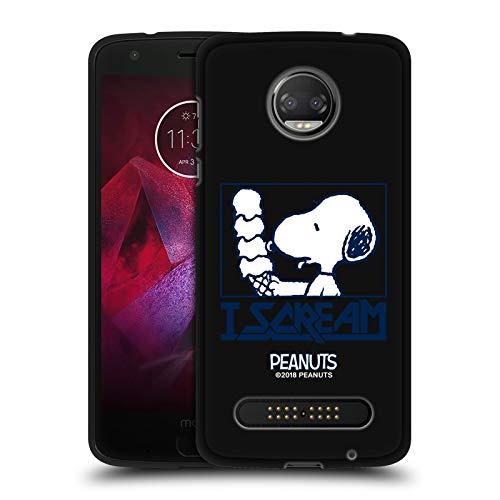Head Hülle Designs Offizielle Peanuts Snoopy I Scream Rock T-Shirts Schwarze Soft Gel Handyhülle Hülle Huelle kompatibel mit Motorola Moto Z2 Force