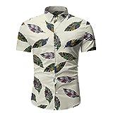 Camisa de Vestir Ajustada a la Moda para Hombres Camisa Informal de Manga Corta con Botones, Camisa de Playa cómoda y Transpirable para Salidas L