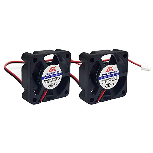 HAWKUNG 2 Pcs 3D Printer Cooling Fan Extruder Accessory 3010 30 x 30 x 10 mm DC 12V 2 Pin Connector Bearing Silent Brushless Heatsink Cooler Blower for 3D Printer, Black