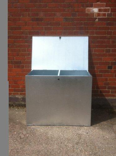 ASA Metal Products Conteneur galvanisé à 2 compartiments pour aliments Taille moyenne
