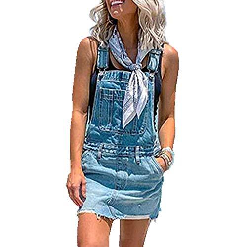 Fansu Vestido Peto Falda Mujer, Vaquero Denim Strappato Dungaree Monos Vaqueros Largos Casuales Fiesta Suelto Casual Elegantes Tamaño Grande (L,Azul Claro)
