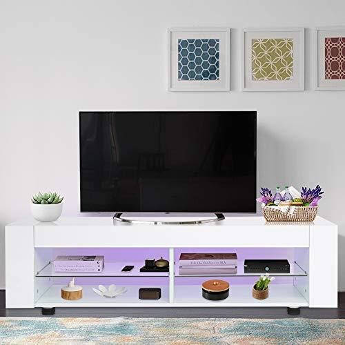 Witte hoogglans TV Eenheid Houten TV Stand Kast met LED Lichten en Opbergplank voor Woonkamer Slaapkamer, 120 x 37,5 x 34,5 cm