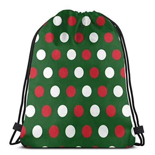 BXBX Bags Christmas Polka Dots Background Gym Sack Drawstring Bag Drawstring Backpack Rucksack Unisex Gym Bag Swim Bag
