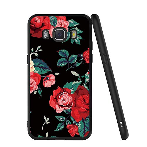 Yoedge Funda Samsung Galaxy J7 2016, Ultra Slim Cárcasa Silicona Negro con Dibujos Animados Diseño Patrón 360 Bumper Case Cover para Samsung Galaxy J7 2016, Rosa Roja