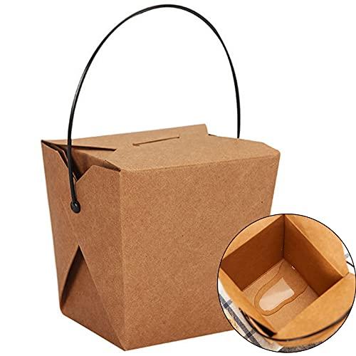 MHGLOVES 100 Piezas Cartón para Llevar, Caja De Embalaje De Ensalada, Envasado De Cartón para Alimentos, Caja para Galletas, Comida Cocida, Pan, Arroz Frito, Fideos,Marrón