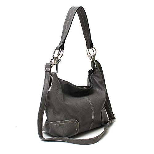 Janin Handbag Bucket Style Hobo Shoulder Bag with Big Snap Hook Hardware, Dark Grey, Medium