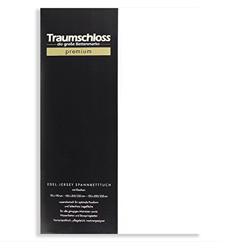 Traumschloss Edel-Jersey Spannbetttuch Premium | Weiß | Mako Baumwolle mit Elasthan | Hautsympathisch, samtweich & angenehm zur Haut | 180-200 cm x 200-220 cm