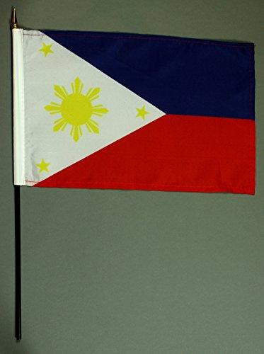 Buddel-Bini Handflagge Tischflagge Philippinen 20x30 cm mit 42 cm Mast aus PVC-Rohr, ohne Ständerfuß, Stockflagge