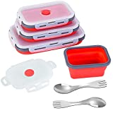 Set of 4 Rectangle Collapsible Silicone Food Storage Containers with Airtight Lids, BPA Free, Microwave, Freezer and Dishwasher Safe, Reusable Collapsible Food Storage Containers with Utensil (Red)