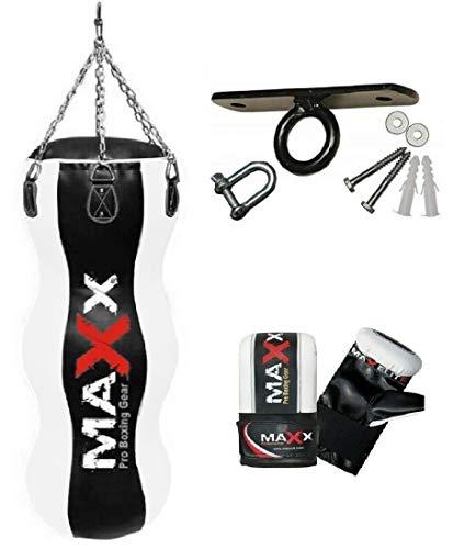Maxx Black/White 4FT Triple body bag uppercut bag punch bag, angled boxing bag+ free chain punching bag set (BAG WITH CEILING HOOK & MITTS)