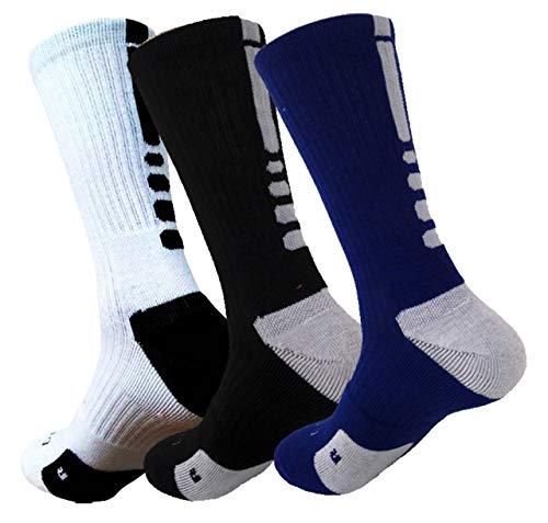 Elite Basketballsocken, gepolstert, Dri-Fit, Sportsocken für Jungen, Mädchen, Männer, Frauen, 3 Stück, Herren, Blau / Schwarz / Weiß, Einheitsgröße