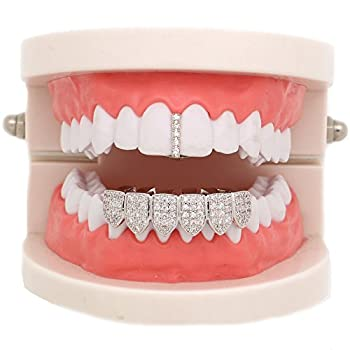 LuReen Silver Pave Full CZ Bar Grillz Teeth Top and 6 Bottom Set Grills + Extra Molding Bars