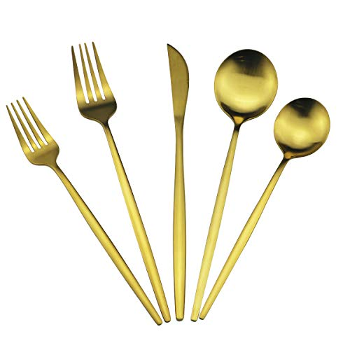 60-Piece Modern Matte Silverware Set, Uniturcky 304 Stainless Steel Flatware Cutlery Set, Elegant Kitchen Utensils Service For 12, Includes Dinner Knives/Spoons/Forks, Gold Satin Finish