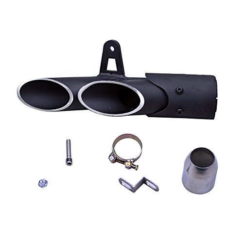 FLYPIG 38-51mm Universal Aluminum Exhaust Muffer Pipe 51mm/2' Dual-Outlet for Yamaha 250/300 Kawasaki ZX6R10R Motorcycle Slip On Dirt Bike Street Bike Scooter ATV Quad Motorbikes Exhaust