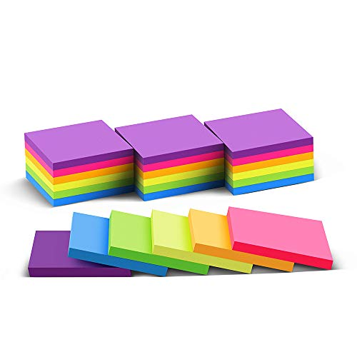(24 Pack) Sticky Notes 3x3 in Post Bright Stickies Colorful Super Sticking Power Memo Pads, Strong Adhesive, 74 Sheets/pad