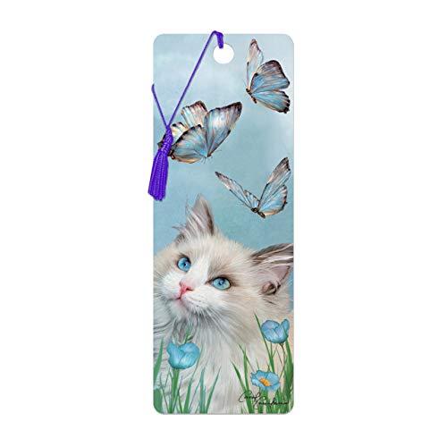 Bookmark 3D LiveLife - Ragdoll u. Schmetterlinge. Lentikulare Grafik 3D geholt Ihnen durch Deluxebase, ein themenorientiertes Bild der Katze genehmigt vom bekannten Künstler Carol Cavalaris, einschlie