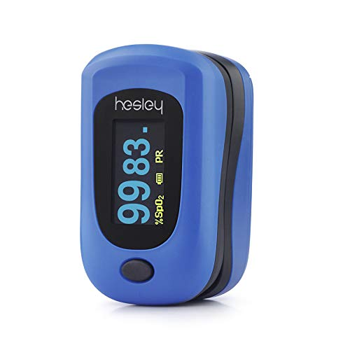 Hesley Finger Pulse Oximeter, (SpO2) Blood Oxygen Saturation Monitor with Pulse Rate Measurements and Pulse Bar Graph, Digital Reading LED Display, Blue