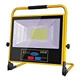 LED Luz de Trabajo Recargable, 3000LM Solar Foco de Trabajo LED Bateria 30000mAh, IP65 Impermeable Regulable Portátil Luz de Inundación, 7000K Luces de Trabajo para Obra Taller Garaje Jardín Camping