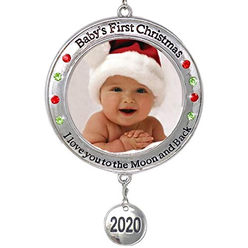 BANBERRY DESIGNS Baby's First Christmas - 2020 Photo Xmas Ornament - I Love You to The Moon and Back Picture Opening for Babies - Baby Keepsake Ornaments
