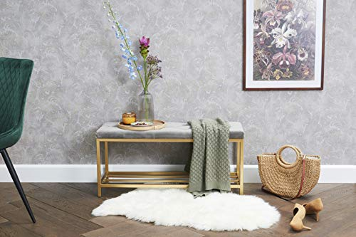 Sitzbank mit Ablage für Schuhe in Gold/grau, Schuhbank mit Sitzfläche aus Samt für den Eingangsbereich aus Metall und Samt, 90 x 32,5 x 43 cm