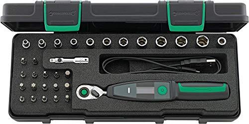 """Stahlwille 701/32/1 - Juego de herramientas dinamométricas con llave dinamométrica electrónica 701, 1-20 Nm, carraca de 1/4"""" con 80 dientes, 31 piezas en caja robusta"""
