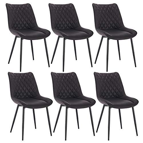 WOLTU® Esszimmerstühle BH210an-6 6er Set Küchenstuhl Polsterstuhl Wohnzimmerstuhl Sessel mit Rückenlehne, Sitzfläche aus Kunstleder, Metallbeine, Antiklederoptik, Anthrazit