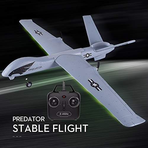 PLRB Toys RC Plane, 2.4Ghz 2 Channels RTF RC Predator Airplane, RC Aircraft with 3-Axis Gyro for Beginner, A Easy to Fly Glider Toys (Wingspan 660mm)