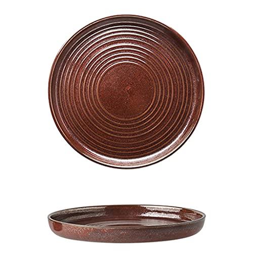 SDFB Plato de Cena de gres Vintage Rojo, Platos de Sopa roscados de 8.5 y 10.5 Pulgadas, Apto para microondas, Postre/Ensalada/Pan/Espagueti de Uso doméstico