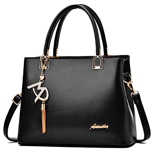 Damen Handtaschen und Schultertaschen Damen Designer Henkeltasche, (W1 Schwarz), Einheitsgröße