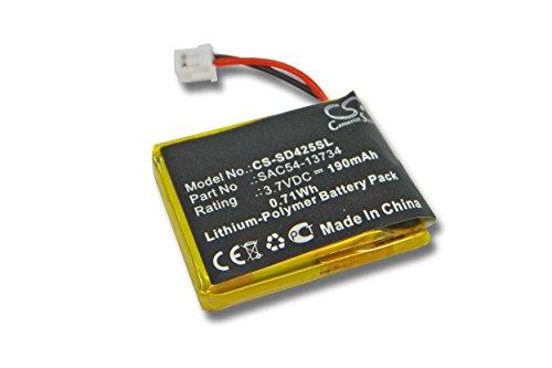 vhbw Batterie Li-polymère 190mAh (3.7V) pour Collier pour Chien Sportdog SD-425, SD-425CAMO, SD-425S, WetlandHunter 425CAMO comme SAC54-13734.