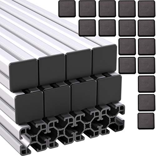 Ulber24- Aluprofil 40x40 Nut8 Typ I,12x2m=24m +24xAbdeckkappen Aluminium- Konstruktion- Montage- System- 4040 Alu Schiene Stecksystem Vierkant Profil I-Typ Nut 8