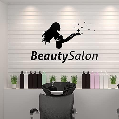 Zdklfm69 Pegatinas de Pared Adhesivos Pared Salón de Belleza Logo Decal Hair Salon Sticker Corte de Pelo Room Wall Art Decoration 66x42cm