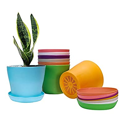 "Alotpower Plant Pots, Plastic Planters Indoor Set of 8 Flower Plant Pots with Drainage and Saucer for All House Plants, Flowers, Herbs, Succulents and Hanging Plants (6.7"", 8 Colors)"