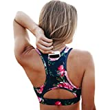 EYILAI Wireless Sports Bra for Women High Support Pocket Bras Workout Activewear Printed Yoga Bra Comfy and Stretchy, Blue-printing, Medium