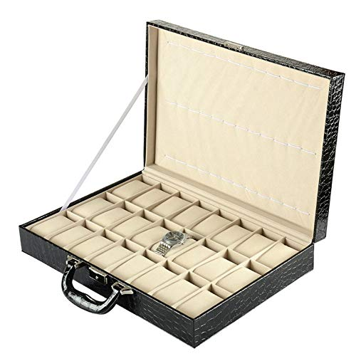 Caja de Relojes Estuche para Relojes, Patrón de cocodrilo PU Cuero 36 ranuras Caja de reloj grande Organizador Pantalla de joyería Pantalla Caja de almacenamiento Regalo de cumpleaños para mujeres hom