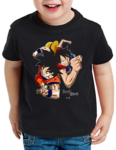 style3 Goku Ruffy - Best Bro's T-Shirt für Kinder Strohhut z Saiyan, Farbe:Schwarz, Größe:140
