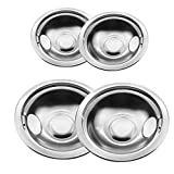 Bestong 4-pack Gas Stove Burner Covers Stainless Steel Reflector Bowls Stove Drip Pans Compatible with Frigidaire Kenmore 5304430149, 5304430150