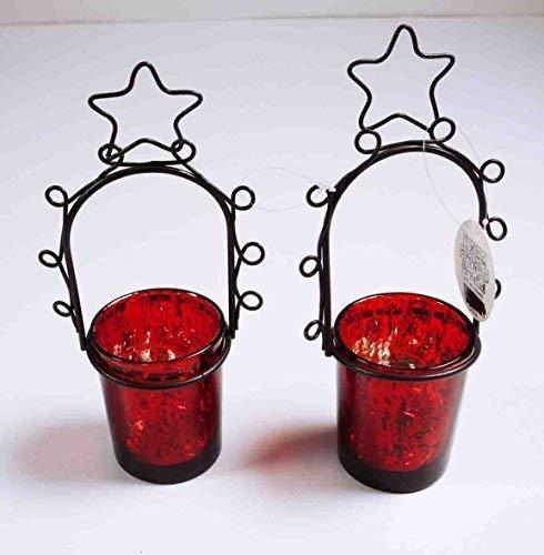 Teelicht-Glas, Geschenk, Weihnachten, Advent, Tisch-Deko, Ambiente, rot H:18cm BxT: 80x55mm, 2er Pack, Glas/Metall