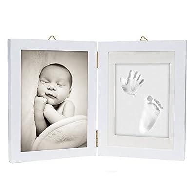 Kit de marco para impresión de pies y manos de bebé – Arcilla de impresión suave y segura para moldear con un marco de madera y una cubierta de cristal acrílico alta calidad - regalo de recién nacido