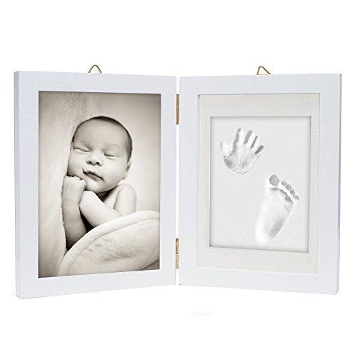 Kit de marco para impresión de pies y manos de bebé – Arcilla de impresión suave y segura para moldear con un marco de madera y una cubierta de cristal acrílico - regalo de recién nacido