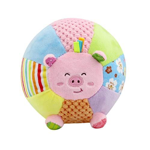 Baby Rassel Ball Plüsch Greiflinge Kinderwagen Spielzeug für Neugeborene Musikspielzeug Greifspielzeug (Schwein)