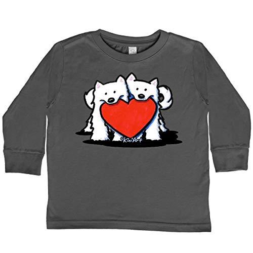 inktastic Eskies W/Heart Toddler Long Sleeve T-Shirt 2T Charcoal - KiniArt 64f5
