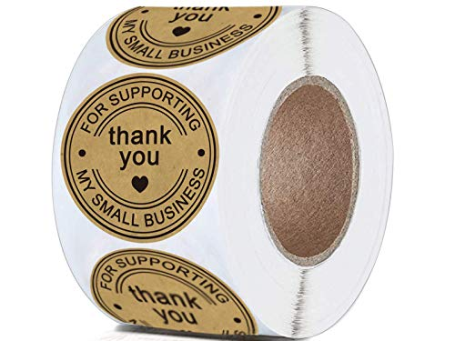 """2"""" Round Kraft Thank You for Supporting My Small Business Stickers Kraft Christmas Holiday Present Sticker Labels - 500 Classy Retro Business Thank You Stickers Per Roll"""