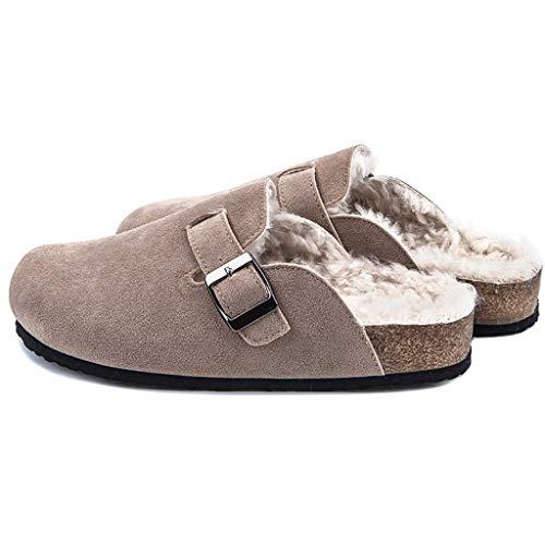 ZYING Zore Invierno Mujeres Faux Vaca de Gamuza Zapatillas de Cuero Largo Peluche cálido Interior Suave Corcho toboga Calzado Calzado para Mujeres Hombres (Size : 41)